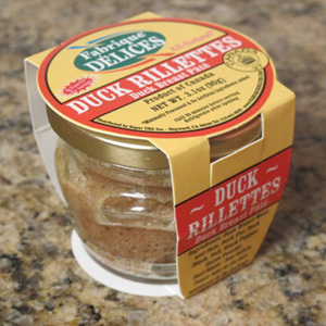 Duck Rillettes in an old fashioned glass Jar